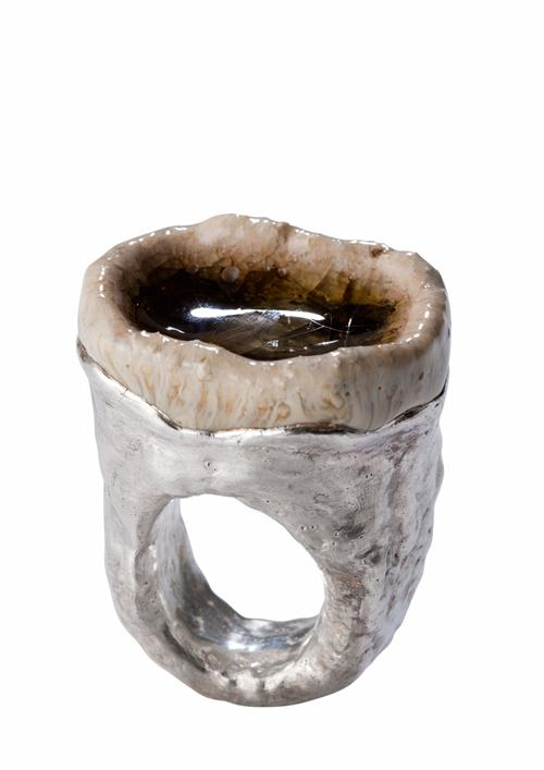 ONE OF ROCKY GLAZE GREEN RING